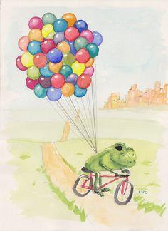 Special Delivery - Art Print of Original Frog Watercolor. $12.00, via Etsy.