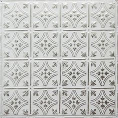 Silver Washed White tin ceiling tiles and tin backsplash. Artisan finish: powder-coated then hand-finished for Silver Washed White. Diy Backsplash, Backsplash Panels, White Backsplash, Backsplash, Metal Panel Backsplash, Ceiling Tiles, Metal Wall Panel, Tin Ceiling Backsplash, Backsplash Patterns
