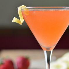 Strawberry Lemon Drop - Refreshing cocktail with strawberries, lemonade, and vodka.