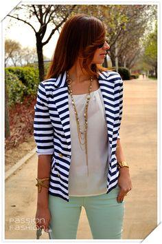Striped blazer with mint pants inmycloset