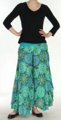 Pantalon femme imprimé coupe extra large turquoise Ameline sur www.akoustik-online.com.