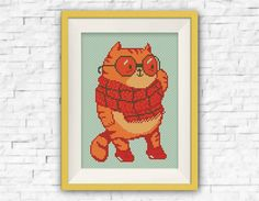 BUY 2 get 1 FREE!Orange Cat cross stitch pattern animals Funny gifts for him Counted cross stitch patterns Needlepoint Instant download,S088 by ElCrossStitch on Etsy