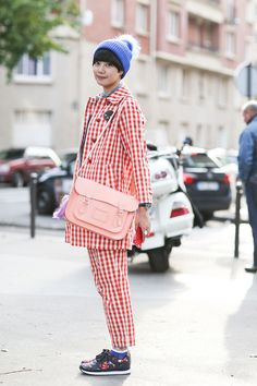 80 French Style Lessons To Learn Now #refinery29  http://www.refinery29.com/2014/10/75565/paris-street-style-photos-fashion-week-2014#slide24  Don't: Stop at one gingham piece.   Cambridge Satchel!