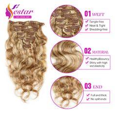 Peruvian Clip in Human Hair Extensions Body Wave Clip Ins for Black Women 7pcs/set Peruvian Virgin Human Hair Clip In Extension