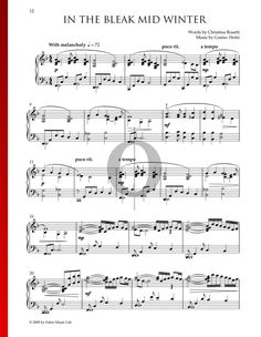 In The Bleak Midwinter by Gustav Holst - Piano Sheet Music Gustav Holst, Piano Sheet Music, Music Stuff, Special Occasion, Holiday, Christmas, Pdf, Songs, Traditional
