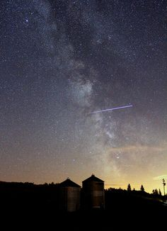 ISS passes through the Milky Way. I shot this on August 28, 2011.