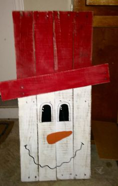 Wooden painted snowman