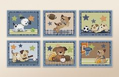 Bow Wow Puppy Buddies. Dogs and Sports Nursery Wall Art
