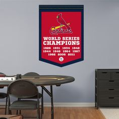 St Louis Cardinals World Series Champions Banner REAL.BIG. Fathead Wall Graphic | St. Louis Cardinals Wall Decal | Sports Decor | Baseball Bedroom/Man Cave/Nursery