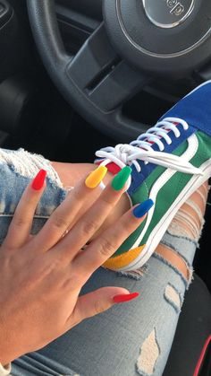 stylish gorgeous glam natural nail art design tutorial polish manicure … - Nails Tip Colourful Acrylic Nails, Summer Acrylic Nails, Best Acrylic Nails, Acrylic Nails Green, Colorful Nail Designs, Coffin Acrylic Nails Long, Acrylic Nail Art, Acrylic Colors, Acrylic Nails With Design