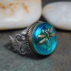 Czech glass button dragonfly ring