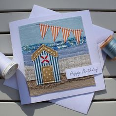 Beach Hut and Seaside Card - Handmade Original Textile Card - Collage Card - Birthday Card - Happy Birthday Card Handmade Gift Tags, Handmade Birthday Cards, Happy Birthday Cards, Card Birthday, Fabric Cards, Fabric Postcards, Textiles, Sewing Cards, Free Motion Embroidery