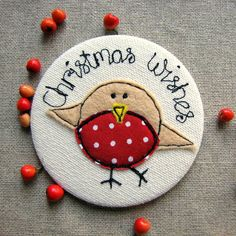 Personalised Christmas Robin Mirror by Sew Very English, the perfect gift for Explore more unique gifts in our curated marketplace. Stocking Fillers For Girls, Christmas Stocking Fillers, Christmas Cards, Christmas Ornaments, Little Christmas, Christmas Design, Free Machine Embroidery, Cross Stitch Embroidery, Robin Redbreast