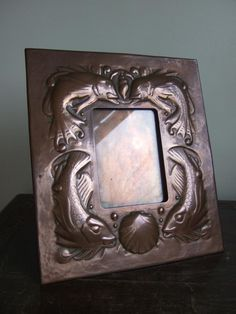 Stamped Newlyn Arts & Crafts Copper Photograph frame with fish & shells