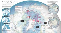 Map of the Arctic ocean with each country's respective claim. Deep Time, Information Graphics, Time Magazine, Current Events, Arctic, Geography, Around The Worlds, Ocean, Culture