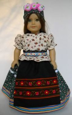 """Fits 18"""" American Girl doll Hungary Hungarian Matyo dress clothes C COSTUME ONLY"""