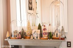 glass cloche bottle brush trees | Such a MAGICAL use of cloches and bottle brush trees, I LOVE this! I ...