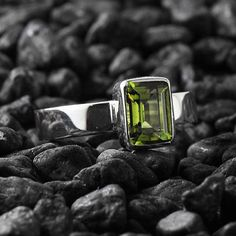 Peridot Ring Silver Green Engagement Rings Womens #jewelry #ring @EtsyMktgTool #peridot #peridotring #greenperidotring #peridotjewelry