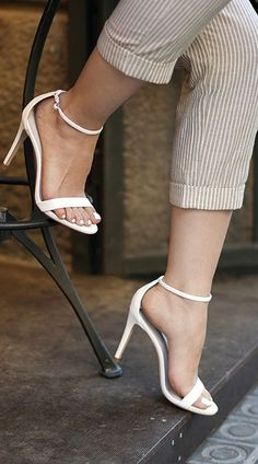 New Look Paz Nude Leather Barely There Heeled Sandals ...