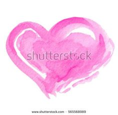 Watercolor pink hand drawn paper texture isolated heart on white background for text design, valentine day, card. Aquarelle abstract purple color wet brush paint vector element for label, icon, print