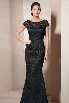 Taffeta,lace Column High Neck Cap Sleeve Long Natural Waist Evening Dress