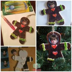 kids gingerbread ornament Kids crafts, photo ornaments using @Crayola
