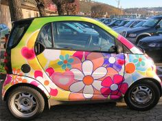 Not colorful enough for my taste, but super cute none the less! Hippie Car, Fiat 500c, Girly Car, The Future Is Now, Smart Fortwo, Smart Car, Mode Of Transport, Car Decals, Disney Decals