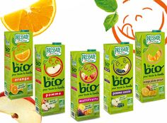 """The dominant color of the Pressade's packaging is green, showing the natural and the fresh aspect of the product to the consumer. The facet is reinforced by the typography on the bottle: """"Bio"""" is writing in big to emphasize the provenance of the fruits used. The brand wants to present the product as a healthy one, helping to increase the vitality, with the smiling face on the packaging. They want to communicate an ecological aspect: bottle made in cardboard, which is recyclable"""