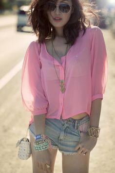 pink sheer shirt and shorts