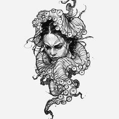 Tattoo Sketches, Tattoo Drawings, Art Sketches, Kraken Art, Tattoo Maker, Kunst Tattoos, Cute Disney Drawings, Dark Art Drawings, Desenho Tattoo