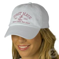 First Mate With Anchor Personalized Embroidered Hat