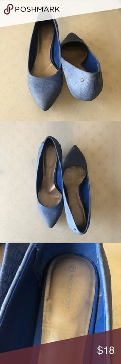 Featured  Blue Kitten Heels Size 8 Rockport Blue Kitten Heels  Pre-Loved  Signs of wear as pictured. Please look over all the pictures. Size 8.   Bundle and Save  Reasonable Offers Welcomed Rockport Shoes Heels