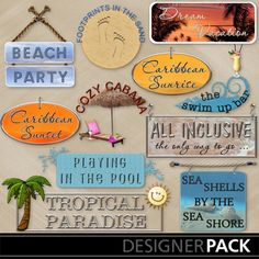 Tropical Vacation Word Art from LLL Creations