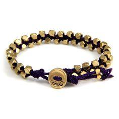 Double Gold Faceted Bead Bracelet on Purple Waxed Linen