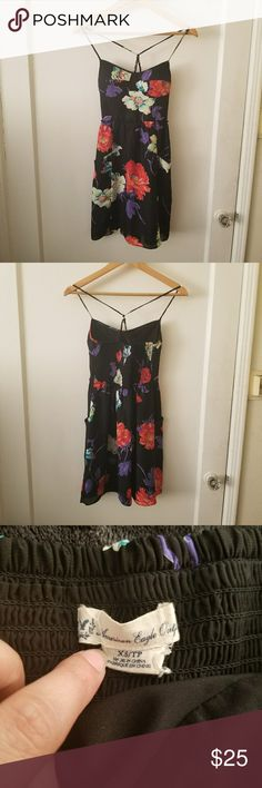 Black Floral American Eagle Summer Dress My favorite summer dress but it no longer fits sadly Built in bra Stretchy upper back Has pockets!! American Eagle Outfitters Dresses Mini