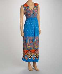 Take+a+look+at+the+jon+&+anna+Blue+&+Orange+Paisley+Surplice+Maxi+Dress+-+Women+on+#zulily+today!