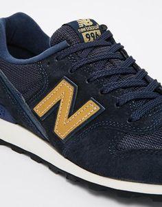 New Balance - 996 - Baskets daim et maille - Bleu et or