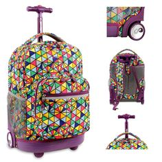 """Kids Rolling Backpack Elementary Middle School Wheels Book-Bag Roller Tote 18"""" Telescope Handle   Handy and fun, take the weight off your back with this School Rolling Backpack featuring adjustable air mesh cushioned shoulder back pack straps, pockets galore for organizing pens, pencils, keys, credit cards, everything has a space designated in the organizer pocket and a bigger outer zippered organizer pocket with side mesh water bottle holder. This lined School Rolling Backpack Book-Bag is a…"""