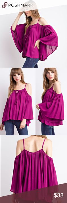 New! Boho Magenta Angel Sleeve Shoulder Blouse Absolutely gorgeous blouse in vibrant magenta color made of high quality 100% rayon from the same labels Nasty Gal carries. This is the perfect style of blouse to wear in this summer/ fall transition, pretty and flirty! Also available in black, don't forget to check out my closet; bundle and save! Urban Outfitters Tops Blouses
