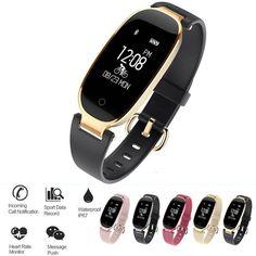 Waterproof Women Girl Bluetooth Smart Watch Sports Bracelet Wristband with Heart Rate Monitor Fitness Tracker Pedometer Heart Rate Monitor, Fitness Tracker, Sport Watches, Apple Watch, Smart Watch, Bluetooth, Luxury, Sports, Bracelet