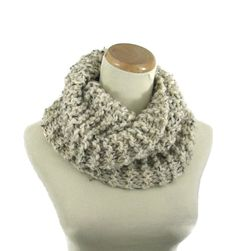 Neck Warmer, Bulky Cowl, Hand Knit Scarf, Knit Cowl, Winter Scarf, Beige Cowl, Oatmeal, Gift Idea, Outlander Inspired, Women Scarf, - pinned by pin4etsy.com