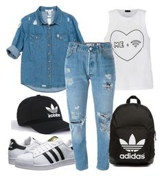 """""""Untitled #78"""" by monochromedivine on Polyvore featuring Ally Fashion, Sans Souci, adidas Originals, Levi's, denim and adidas"""