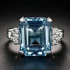 6.00 Carat Aquamarine Platinum and Diamond Ring
