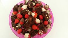Chocolate brownies and choc covered strawberries
