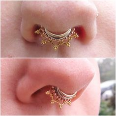 I've been slowly adding gold rings to her septum piercing (done elsewhere) and I'm thrilled to see how it's coming together! Lower Lip Piercing, Septum Piercing Jewelry, Septum Nose Rings, Cool Piercings, Nose Ring Stud, Facial Piercings, Piercing Tattoo, Septum Piercings, Peircings