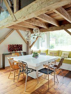 Design Bureau   Alex Porter All chairs different... glass chandelier