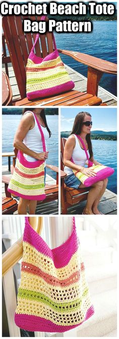 This quick and easy FREE crochet beach tote bag pattern is the perfect size for toting to the farmer's market or the beach this summer. Sponsored By: Grandma's Crochet Shop Crochet Shell Stitch, Crochet Market Bag, Crochet Diy, Crochet Handbags, Crochet Purses, Knit Or Crochet, Crochet Bags, Crochet Baskets, Crochet Gifts