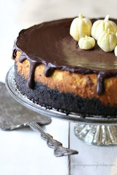 Pumpkin Cheesecake with an Oreo crust and white chocolate pumpkins. Make this the day before Thanksgiving.
