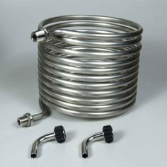 A small stainless steel HERMS coil that fits kettles up to 10 gallons in size, from Blichmann Engineering! Wine Making Supplies, Home Brewing Equipment, Stainless Steel Tanks, Stock Tank Pool, Steam Generator, Diy Home Repair, Kettles, Engineering, Water Heaters