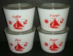 Vintage-McKee-Canister-Set-of-4-Coffee-Tea-Sugar-Flour-Red-Ships-Sailboat-w-Lid
